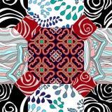 Modèle sans couture de patchwork avec des fleurs - actions Photographie stock libre de droits