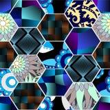Modèle sans couture de patchwork avec des fleurs conception de la Russie ou de Slaves illustration de vecteur