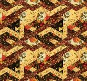 Modèle sans couture de patchwork avec des fleurs cru Photographie stock libre de droits