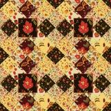 Modèle sans couture de patchwork avec des fleurs cru Photo stock