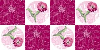 Modèle sans couture de patchwork avec les fleurs roses de zinnia Photographie stock