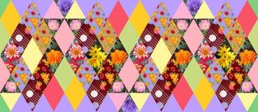 Modèle sans couture de patchwork d'été avec de beaux fleurs et fruits Photo stock