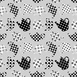 Modèle sans couture de patchwork noir et blanc de théières Image stock