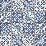 Modèle sans couture de patchwork, tuiles marocaines Images libres de droits