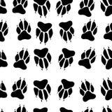 Modèle sans couture de patte d'impression d'empreinte blanche noire de chien, backgr blanc Images libres de droits