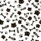 Modèle sans couture de patte Empreintes de pas animales et os Papier peint de pattes de chien de chat, fond mignon de vecteur de  illustration stock