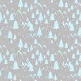 Modèle sans couture de paysage de forêt d'hiver avec des montagnes, des arbres de Noël et la neige courante Idéal pour le papier  illustration libre de droits
