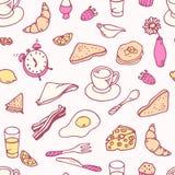 Modèle sans couture de petit déjeuner de griffonnage Image libre de droits