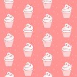 Modèle sans couture de petit gâteau rose Conception douce de texture de gâteau Images stock