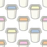 Modèle sans couture de petit pot de yaourt Photographie stock libre de droits