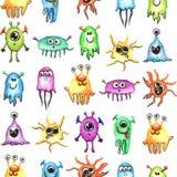 Modèle sans couture de petite aquarelle drôle de monstres Image libre de droits