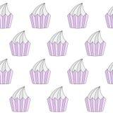 Modèle sans couture de petits gâteaux de griffonnage Photographie stock libre de droits