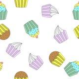 Modèle sans couture de petits gâteaux de griffonnage Photo stock