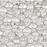 Modèle sans couture de petits gâteaux noirs et blancs illustration stock