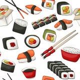 Modèle sans couture de petits pains de sushi Concept asiatique de fond de répétition de menu de restaurant de nourriture Photographie stock