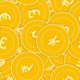 Modèle sans couture de pièces de monnaie de monnaies internationales Pièces de monnaie globales dispersées stupéfiantes Grande vi illustration libre de droits