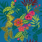 Modèle sans couture de plantes tropicales, feuilles tropicales de Jungel, vignes et bleu de FlowersOn illustration stock