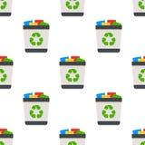 Modèle sans couture de pleine icône plate de poubelle Photographie stock