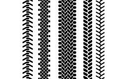 Modèle sans couture de pneu de bande de roulement de voie noire et blanche de protecteur, ensemble de vecteur Photo stock