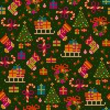 Modèle sans couture de point de croix de Noël Photographie stock libre de droits
