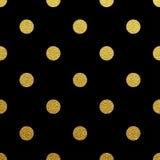 Modèle sans couture de point de polka d'or sur le fond noir Illustration Stock