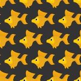 Modèle sans couture de poisson rouge Fond de vecteur de jaune fabuleux Photos libres de droits