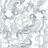 Modèle sans couture de poissons de Koi Image stock