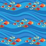Modèle sans couture de poissons et de vagues () Images libres de droits