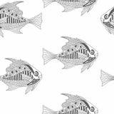 Modèle sans couture de poissons tirés par la main de vecteur Illustration de Vecteur