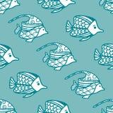 Modèle sans couture de poissons de vecteur Photographie stock libre de droits