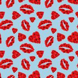Modèle sans couture de Poppy Hearts et de lèvres sur le fond bleu-clair illustration stock