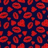 Modèle sans couture de Poppy Hearts et de lèvres sur le fond bleu-foncé illustration de vecteur
