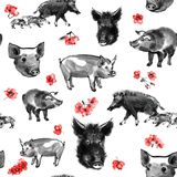 Modèle sans couture de porc de sumi-e illustration stock