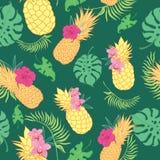 Modèle sans couture de répétition d'ananas verts tropicaux Image libre de droits