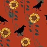 Modèle sans couture de répétition d'automne de corneille de vecteur heureux d'impression illustration stock