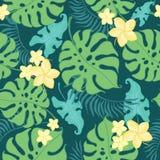 Modèle sans couture de répétition de fleurs jaunes tropicales Photo stock