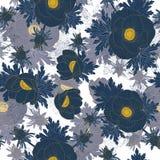 Modèle sans couture de répétition florale de vecteur avec la ligne jaune et les fleurs bleues d'anémone illustration de vecteur
