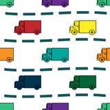 Modèle sans couture de rétro fond de camions d'enfants Photos stock