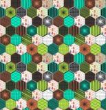 Modèle sans couture de rétro hexagone géométrique avec des hiboux illustration de vecteur