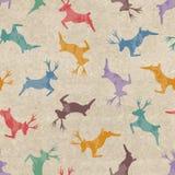 Modèle sans couture de rétro Noël avec des cerfs communs Photo stock