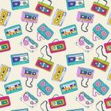 Modèle sans couture de rétros enregistreurs à cassettes illustration libre de droits