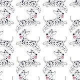 Modèle sans couture de race dalmatienne gaie de chiot, style de bande dessinée, Image stock