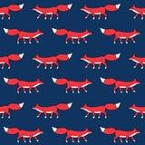 Modèle sans couture de renard rouge Images libres de droits