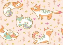 Modèle sans couture de renards polaires mignons Illustration tirée par la main de vecteur dans le style de bande dessinée illustration stock