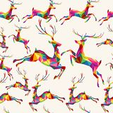 Modèle sans couture de renne coloré de triangle de Noël Image stock