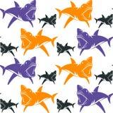 Modèle sans couture de requins dangereux illustration libre de droits