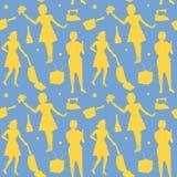 Modèle sans couture de Retro Woman Silhouette de femme au foyer Image libre de droits