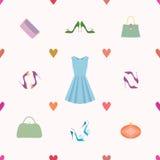 Modèle sans couture de robe, chaussures, sacs à main, coeurs Photographie stock libre de droits