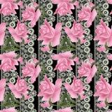 Modèle sans couture de roses de fleurs sur de dentelle noir illustration libre de droits