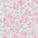 Modèle sans couture de roses roses sur le fond blanc illustration stock
